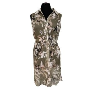 G by Giuliana Semi Sheer Button Front Floral Dress